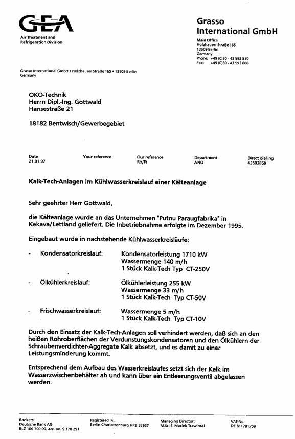 Empfehlungsschreiben der Firma GEA